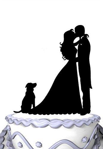 Mei Jia Fei Kissing Braut und Brautigam mit Hund Silhouette Wedding Cake Topper