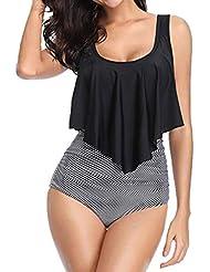 TOPKEAL Trajes de Baño de Dos Piezas para Mujer Tankinis con Volantes y Bikini de Cintura Alta de Tallas Grandes de Mujer