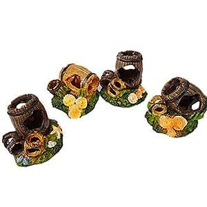 Ornement en bois Tonneau design Décoration pour aquarium (1pc, Style aléatoire)