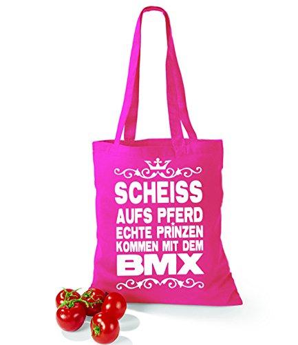 Artdiktat Baumwolltasche Scheiß auf´s Pferd - Echte Prinzen kommen mit dem BMX yellow fuchsia