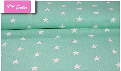 Erstklassiger Baumwollstoff 0,5lfm, 100% Baumwolle, modische Muster, Breite 160cm - Sterne mintgrün