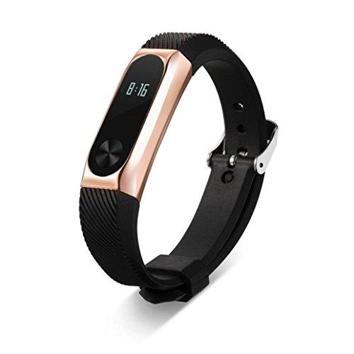 Xiaomi Mi 2 armband, SHOBDW Ersatz Armband Band Strap + Metall Tasche für Xiaomi Mi Band 2 Armband (Rose Gold, 170-220mm) - La Rose 2 Tasche