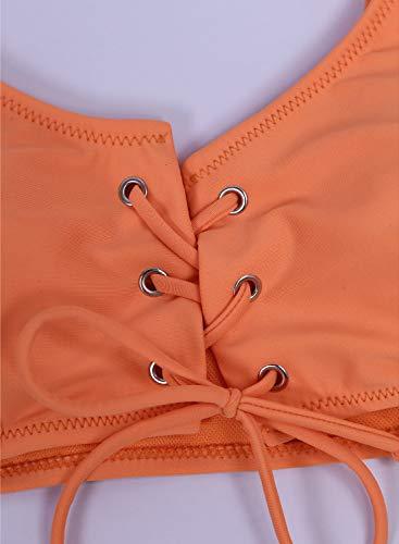 SIDEFEEL Damen Bikini-Set mit Schnürung, hohe Taille, zweiteilig, Badeanzug - Orange - Medium - 6