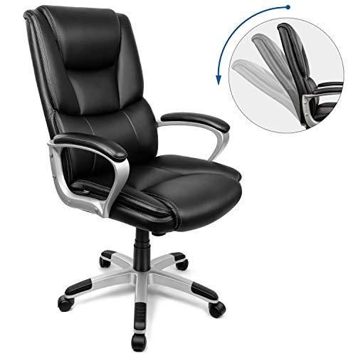 INTEY Bürostuhl Chefsessel Drehstuhl Schreibtischstuhl Computerstuhl office chair aus PU Leder, ergonomisches Design, Polsterung