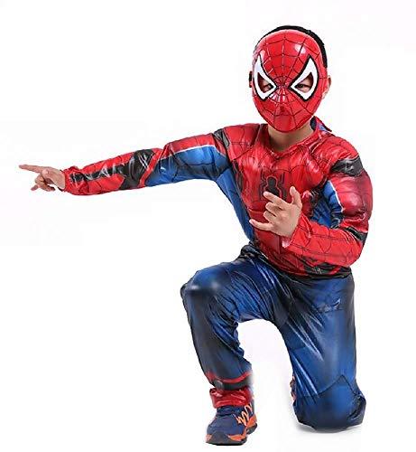 Lovelegis Taglia M - 5-6 Anni - Costume - Maschera - Supereroe - Busto Muscoloso - Spiderman - Uomo Ragno - Bambini - Bimbo - Travestimento - Carnevale - Halloween - Cosplay - Accessori