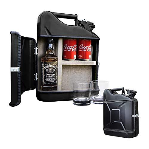 mikamax - Jerrycan Giftset - Whisky Geschenkset - Whiskybar - Jack Daniels Canister - 10L - Schwarz - Mit Zwei Whiskey Gläsern - Maße: 39 x 29 x 13 cm - Geschenke fur männer