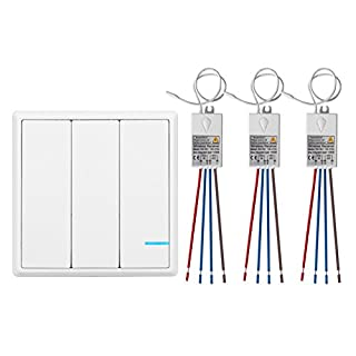 TSSS 3 Way Wireless Lights Switch with Receiver - Remote Multiunit House Lighting Lamps - Quick Create or Relocate On/off No Wiring Switches Panel - Outdoor 1900ft Indoors 160ft