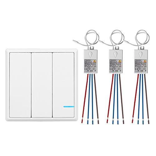 TSSS Hotel Bar 3-Wege Funkschalter mit Empfänger LED Anzeige Licht - Fernbedienung Multi-Einheit Lampen - Schnell erstellen Ein/Aus Verdrahtung -