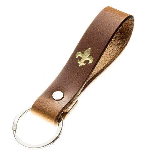 Schlüsselanhänger mit Symbol Fleur de LYS aus pflanzlich gegerbtem Leder Handmade in Germany mit Gravur/Prägung (Lilie Natur) Fleur De Lis Lys