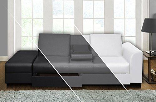 DRULINE Sofa Cairo Schlafsofa Klappsofa Kunstleder Couch Schlafcouch Klappcouch Garnitur (Schwarz)
