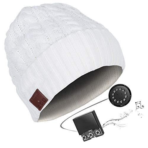 HK Bluetooth Beanie Mütze Waschbare Freizeit Bluetooth Baggy Hats Kopfhörer mit akustischem Stereolautsprecher und Freisprecher-Telefonbeantwortung und bis zu 8 Stunden Wiedergabezeit,ivorywhite