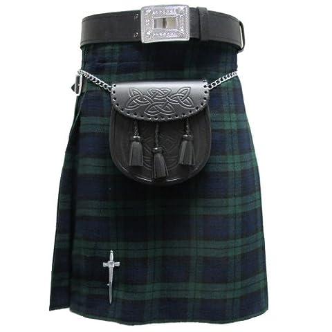 Tartanista - Kilt écossais Highland - tartan Black Watch - 4,6 m - 284 g - UK38 (96 cm)