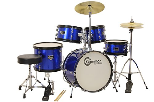 3. Gammon 5-Piece Junior Starter Drum Kit with Cymbals, Hardware, Sticks, & Throne - Metallic Blue