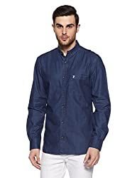 French Connection Mens Slim Fit Casual Shirt (52HKK_Mid Blue_M)