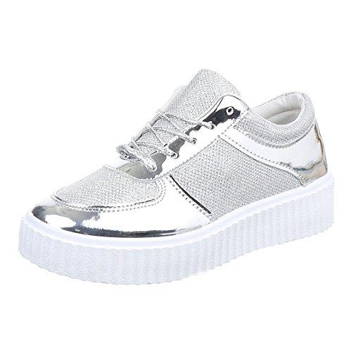 Damen Schuhe, 6122-Y-, FREIZEITSCHUHE, HALBSCHUHE MIT SCHNÜRUNG, Synthetik in hochwertiger Lacklederoptik und Synthetik, Silber, Gr 40