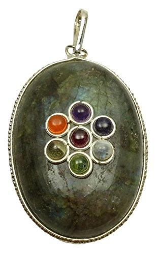 Armonizzare 7chakra forma rotonda ciondolo sodalite pietra medaglione reiki healing cristallo, cristallo, green (labradorite), black gift pouch