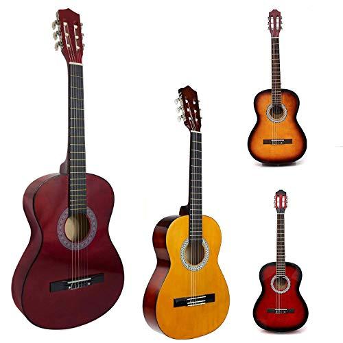 Akustikgitarre in voller Größe, 99 cm, 4/4 Anfänger, für Erwachsene, aus Nylon Beige with Red