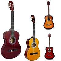 Guitarra acústica de tamaño completo natural de 99 cm, 4/4, para adultos, guitarra acústica de nailon, Beige with Red