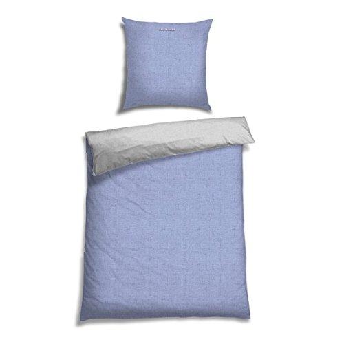 Schiesser Renforcé Bettwäsche Doubleface Hellblau - Silber Wendebettwäsche/2-teilig/100% Baumwolle/Versch. Größen erhältlich, Größe:135 x 200 cm + 80 x 80 cm