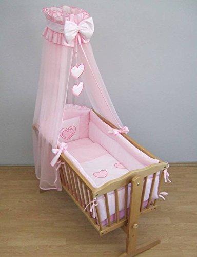 10-teiliges Bettwäsche für Kinder passend zu 90 x 40 cm Kinderbett - Herz Rosa