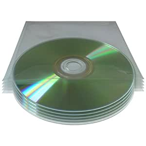MHP 200 x Pochette Transparente Claire pour CD et DVD en PVC renforcé avec Rabat 120 Micron 125 x 125 mm
