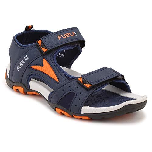 FUEL Men's Boy's Fashion Comfort Trendy Solid Casual Sports Floaters & Sandals (6 UK, Navy-Orange)