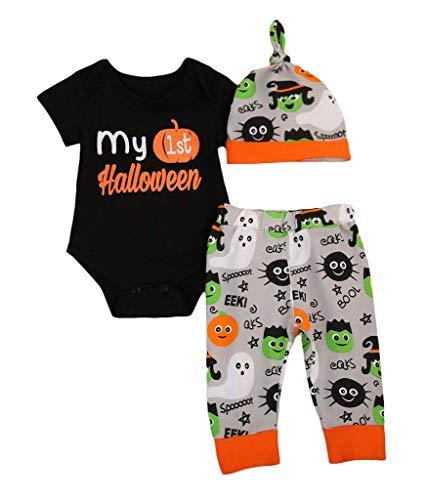 Vawal Neugeborenen Mädchen Jungen Ersten Halloween Kürbis Kostüm Langarm Strampler Top+Lange Hosen+Hut 3 Stücke (18-24M, Kurzer Ärmel-Black)