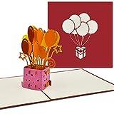 PaperCrush® Pop-Up 3D Geburtstagskarte (Rot) - Perfekt als Geldgeschenk, Geldgeschenkkarte, Pop Up Karte zum Geburtstag - Handgemachte 3D Karte inkl. Umschlag