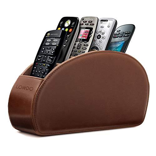 Londo Fernbedienungshalter mit 5 Taschen - Platz für DVD, Blu-Ray, TV, Roku oder Apple TV Fernbedienungen - Leder mit Wildleder Futter - für die Aufbewahrung im Wohn- oder Schlafzimmer - Dunkelbraun