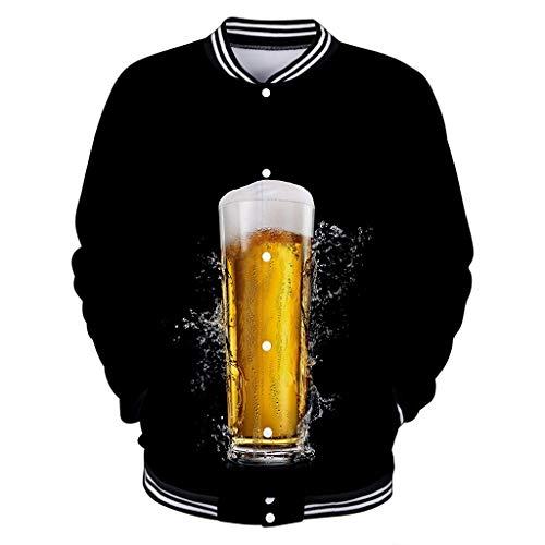 Herren 7D Bier Drucke Freizeit Bomberjacke Leichte Slim Fit Baseball Jacke Oktoberfest Karneval Party Windbreaker Mantel Klassische Softshell Jacke Outdoor Trucker Jacke Outwear Ubergangsjacke