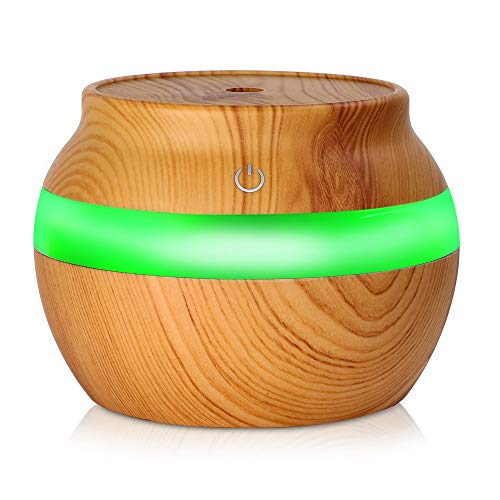 Yaoaofron Electronic Wood Grain Ultrasonic Essential Oil Diffuser Moisture Air Freshener Peach Wood Color