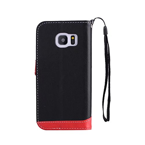 Litchi Texture Dual Farbe Stitching Pattern Synthetik Leder Tasche Cover Flip Stand Case mit Lanyard & Card Slots für Samsung Galaxy S6 ( Color : Red ) Black