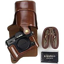 Kinokoo Custodia per fotocamera in similpelle, protezione completa, versione apribile sul lato inferiore, con design compatibile con treppiedi per Fujifilm X - T20 con obiettivo da 16-50 mm e 18-55 mm + tracolla
