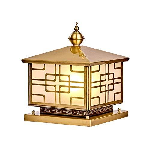 Wapipey Europäische Luxuriöse Outdoor Kupfer Außenwand Tür Säule Lampe IP55 Wasserdicht Regenfest Glas Laterne Post Licht E27 Villa Hof Säule Lampe Outdoor Rasen Tischleuchte -