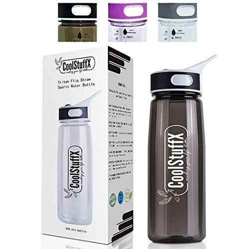 CoolStuffX 800mls Flip Trinkhalm Hydration Sport Wasserflasche und Motivations-Zeitführer.Auslaufsicher, BPA-frei, bruchsicher, stabiler Griffring und Karabinerhaken, Schwarz