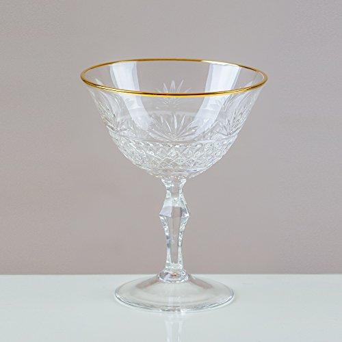 Victoria Gold Damen-Halskette mit Rand, champagner Coupe Untertasse aus 24% geschliffenem Bleikristall, 100% Handarbeit) Cut Punch Bowl