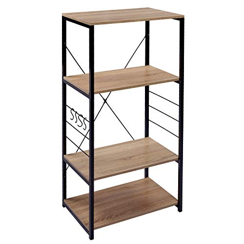 Woltu rgb9365hei scaffale per cucina in acciaio legno 4 ripiani carrello per microonde scaffalature fioriera salvaspazio