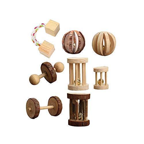 Katzenspielzeug Kauspielzeug Katze Heimtierbedarf Geschenk 5/8 Stück Holzhantel Einrad Chinchilla Hamster Zähneknirschen-3#