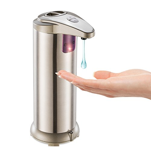 Automatischer Seifenspender Touchless Edelstahl Countertop Seifenspender Sensor mit Wasserdichter Basis,handfree Auto-Seife für Küche und Bad Schalten Sie Auto Drehen