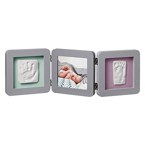 Baby Art My Baby Touch Double Print Frame, 3er Bilderrahmen für Foto, Hand und Fußabdruck, rund, grau