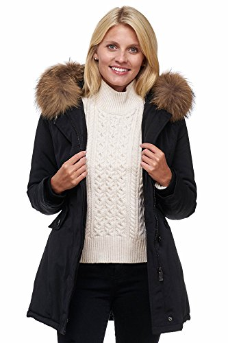 Elara Damen Winterparka | Jacke mit Echt Pelz / Echt Fell Kapuze | Plotter Damenjacke | Gefütterte Outdoor Mantel | chunkyrayan, Größe 38, Farbe Schwarz (fällt kleiner aus)