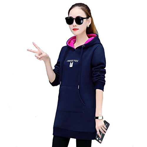 Felpa Hoodies Maglietta Cappotti Tinta Unita Invernale Manica Lunga vestito Cappotto Giacca Con Cappuccio Moda Mini Abito Sweater Giacca Blu