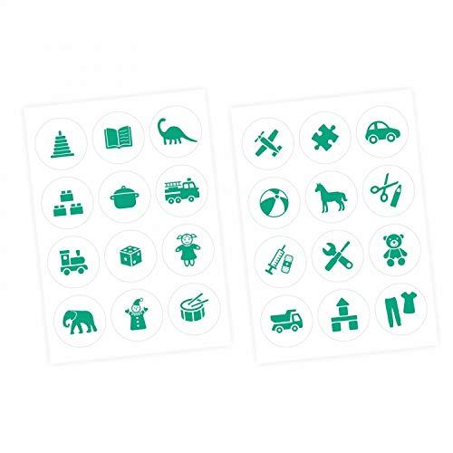 nikima Schönes für Kinder Möbelaufkleber Ordnungssticker für Spielzeug Mint/Weiss- Möbelfolie Kinderzimmer, Ordnung Lernen, Aufbewahrung, Ordnungssystem