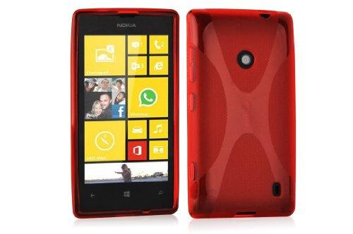 Nokia Lumia 520 / 521 Silikonhülle in ROT von Cadorabo - X-Line Design TPU Schutzhülle für Nokia Lumia 520 / 521 – Handyhülle Bumper Case Backcover in INFERNO ROT (520 Nokia Silicon Case)