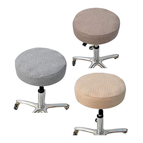Cubierta de tela redonda de tela de lino, 2 piezas/paquete conjunto de taburete de lino, cubierta de silla para decoraciones de oficina en casa