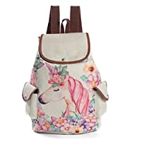 Womens Girl Unicorno College Backpack Drawstring Closure Flap Over Casual Daypacks Cute School Bag Rucksack
