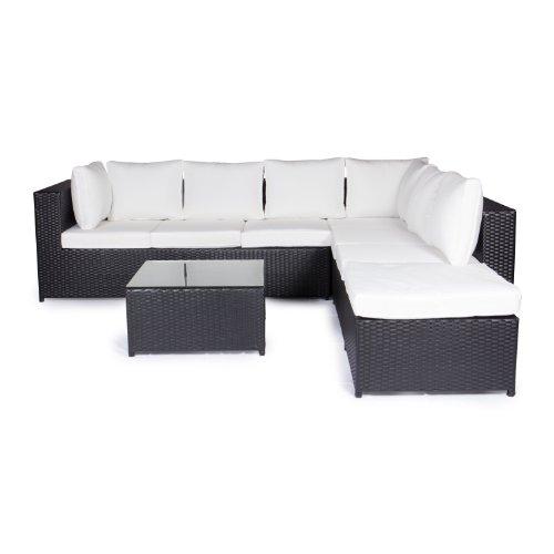 Vanage Gartenmöbel-Sets XXXL-Gartengarnitur, Chill und Lounge Set Montreal, bereits zusammengebaut, schwarz / weiß