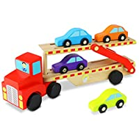 Nuheby Transporter Wooden Toys Cars for 3 4 5 Year Old Boys Girls Toy Toddler Birthday Gifts,Car Carrier Truck and Car Ramp Toy With 4 Mini Kid Cars