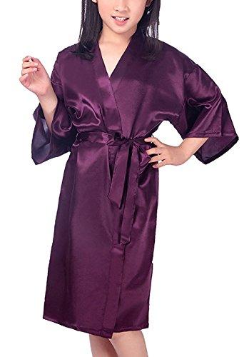 Hammia Kinder Mädchen Satin Seide Kimono-Robe Robe Pure Farbe Morgenmantel Loungewear für Spa...