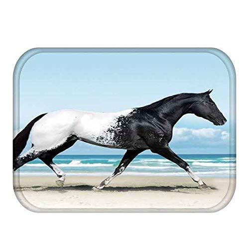 LIZHIOO 40 * 60 cm Pferd Muster rutschfeste Wildleder Carpet tür Matte fußmatte Indoor küche Wohnzimmer bodenmatte Teppich (Color : E) (Indoor-küche Teppiche)